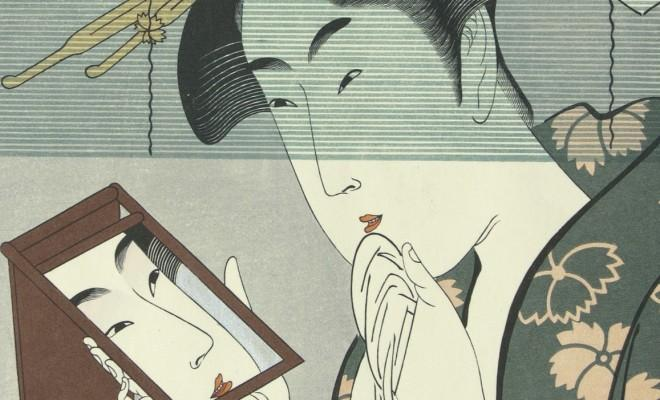 Detail from a woodcut by Kitagawa Utamaro circa 1800.