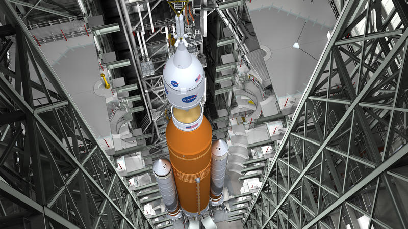 SLS Rocket in the Vehicle Assembly Building