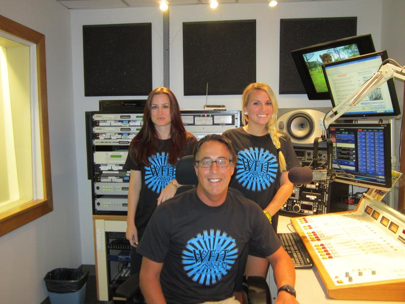 "WFIT's ""Expand Your Horizons"" t-shirts modeled here by Michelle Walker, Todd Kennedy and Amanda Derleth."