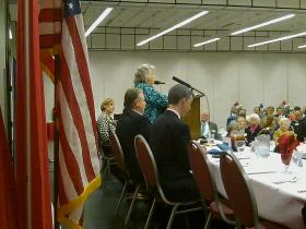 Lucy Morgan speaks before members of the Capital Tiger Bay Club.