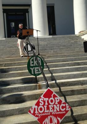 Tallahassee NOW President Della Fahnestock talks at the Old Historic Capitol on Friday.