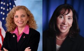 Democratic National Committee Chairwoman and Florida Congresswoman Debbie Wasserman Schultz (left) and Rep. Lori Berman (D-Lantana)