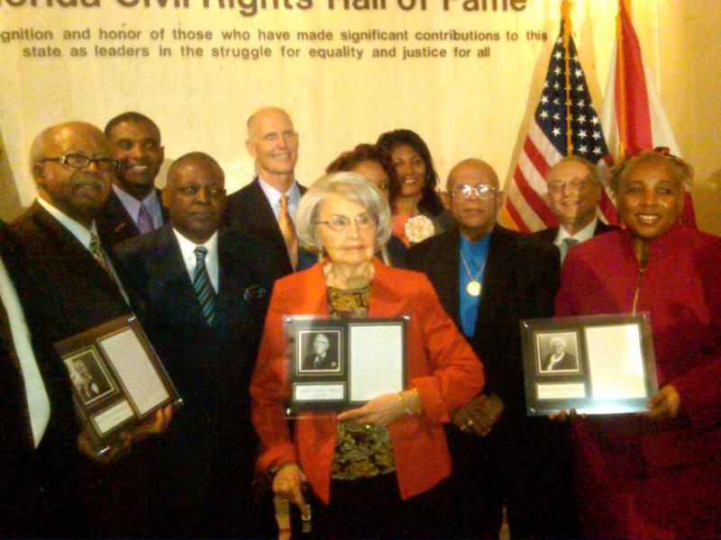 Those who accepted the award on behalf of the first inductees of the Florida Civil Rights Hall of Fame (from left to right) Reverend Dr. Henry Marion Steele, Tina Pepper, and Dr. Evelyn Bethune