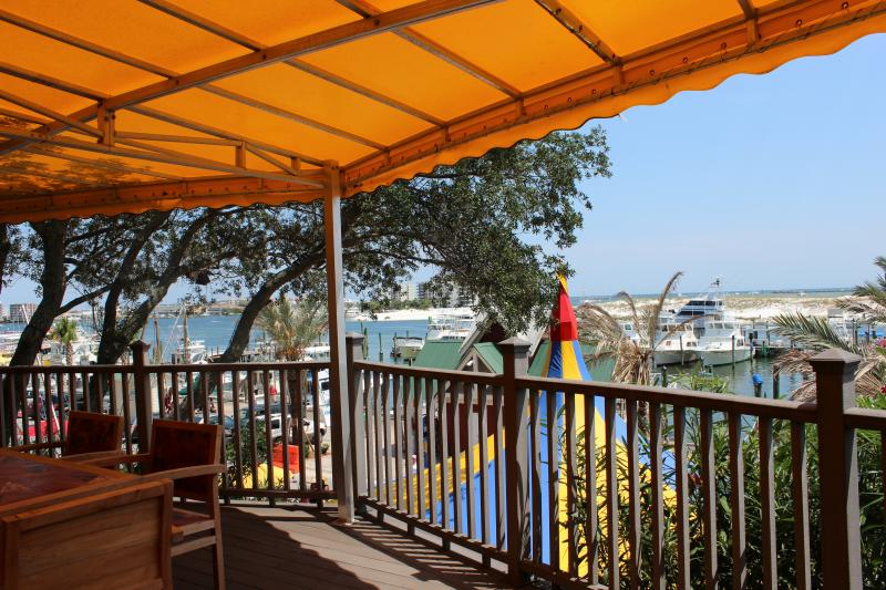 The patio of the Okaloosa County Visitor Center overlooks the Destin Harbor.