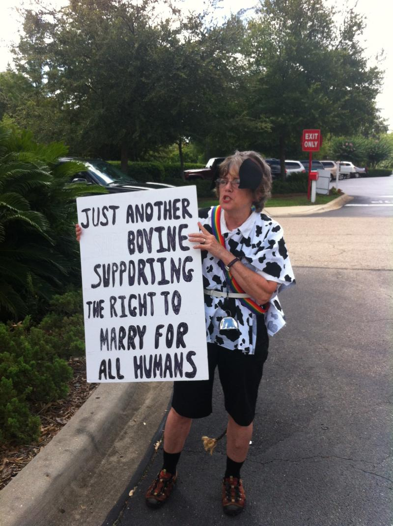 Pro-gay rights protester Fran Sullivan-Fahs expresses her displeasure at Chick-Fil-A's decision to donate money to anti-gay groups