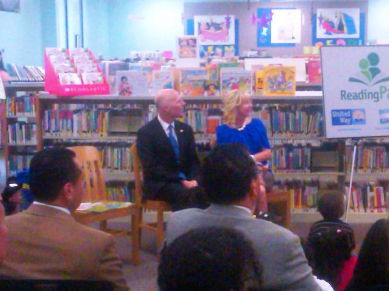 Governor Rick Scott and First Lady Ann Scott read to kids at Tallahassee's LeRoy Collins Library.