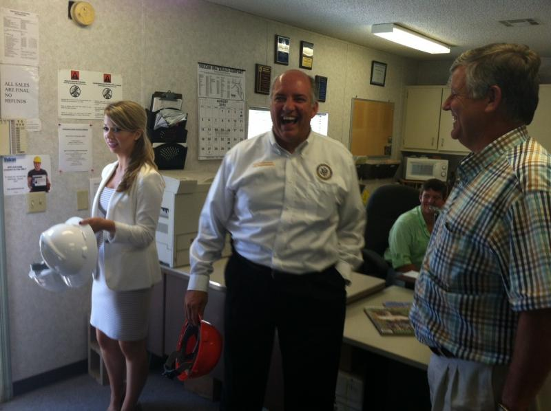 U.S. Rep. Steve Southerland (R-Dist. 2) (center) visits the Vulcan Materials plant in Tallahassee on Wed., Aug. 15. Southerland is joined by legislative assistant Kristen Callaway (left) and Vulcan general manager Sam Pickenpaugh.