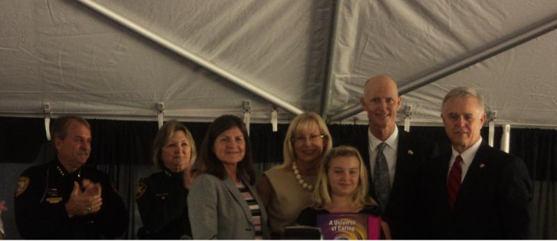 Essay Contest Winner Kaylee Bragg with Governor Rick Scott and First Lady Ann Scott along with FDLE Commissioner Gerald Bailey (left)