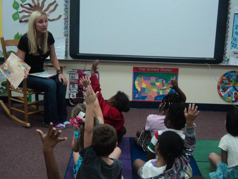 "Sex abuse survivor and child advocate Lauren Book reading ""Do You Have A Secret?"" to kindergarten class at Apalachee Tapestry Magnet School of Arts in Tallahassee."