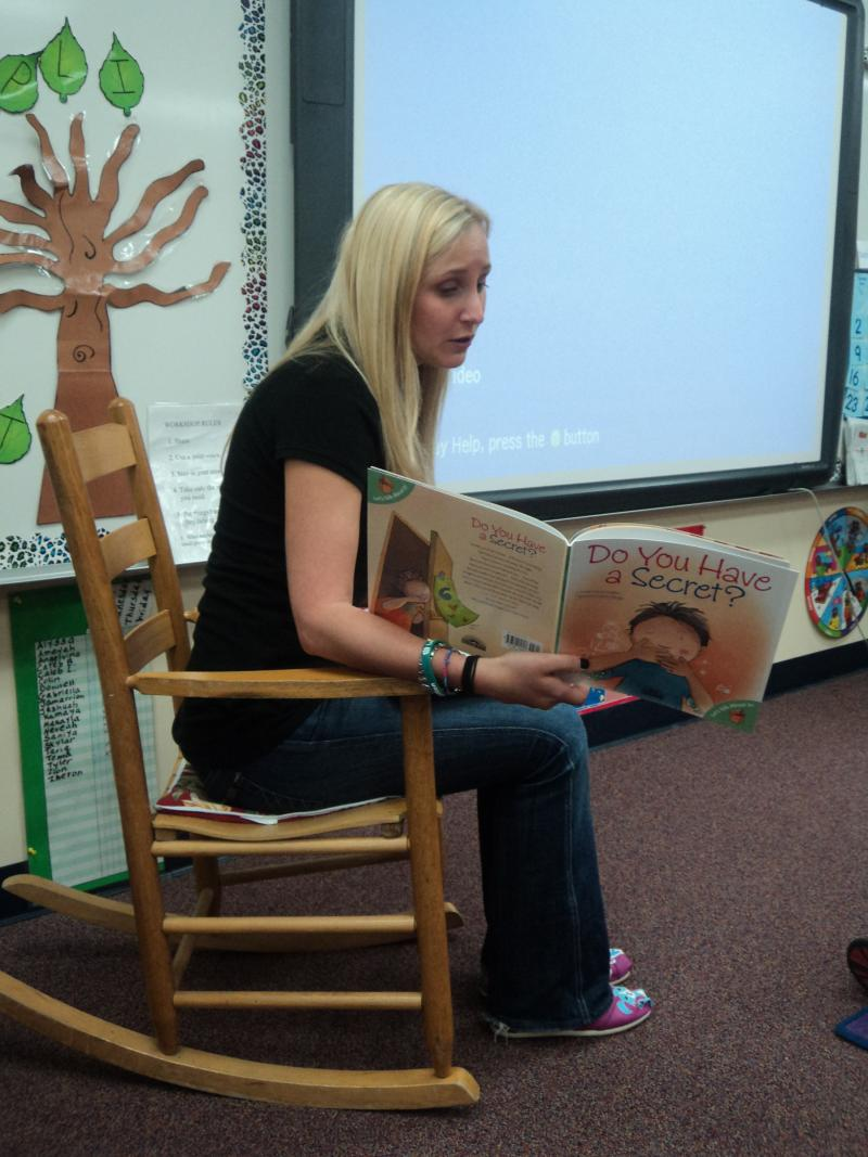 "Lauren Book asking kids questions while reading ""Do You Have A Secret?"""
