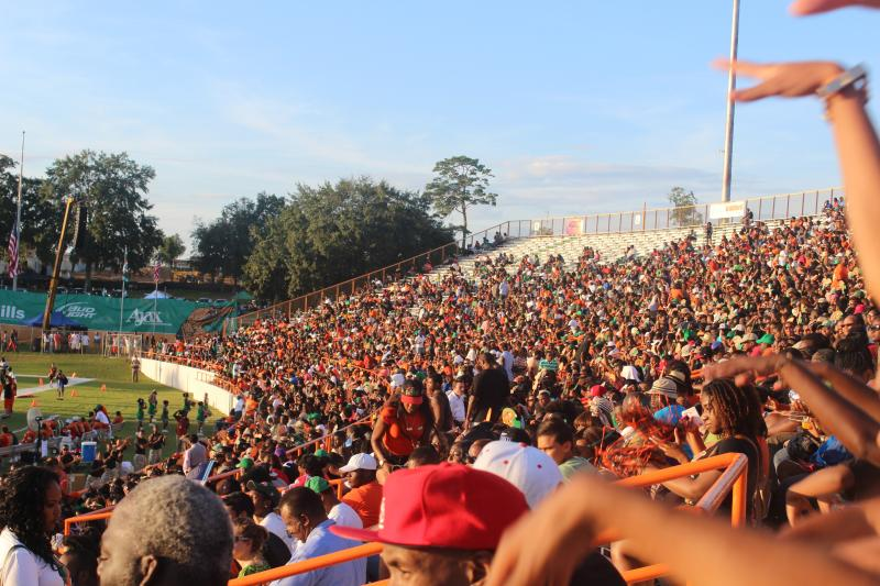 About 18,000 people attended the first FAMU home game to watch the Rattler's beat the Hampton U. Pirates 44-20. That empty section is normally reserved for the Marching 100