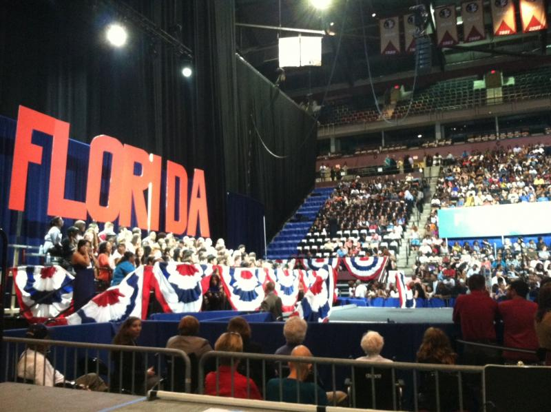 The stage is set for First Lady Michelle Obama at the Leon County Civic Center on Monday night.