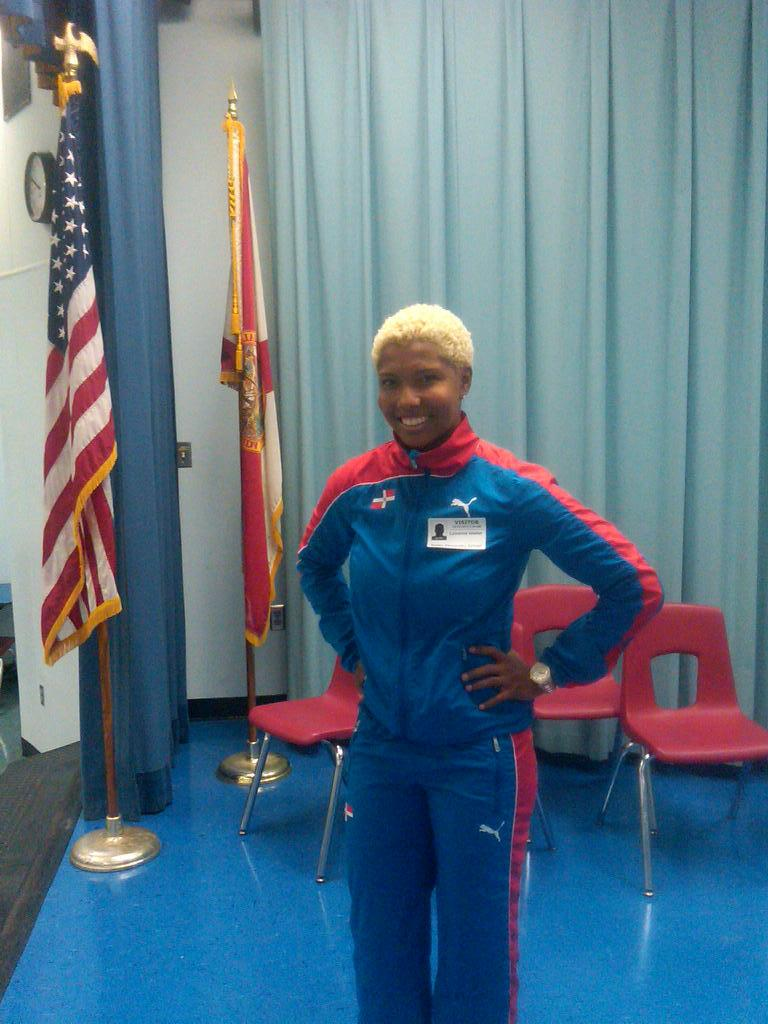 Lavonne Idlette at Tallahassee's Sealey Elementary School. Idlette represented the Dominican Republic in the 100m Hurdles during the 2012 London Olympics