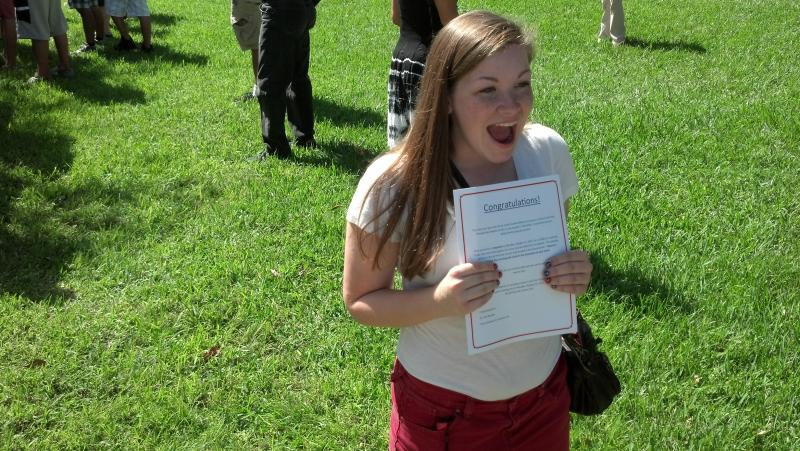 Freshman Andrea Schwarzkopf  excited to win ticket to presidential debate