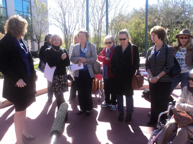 "Women speaking at the ""Women For Obama"" rally, including Leon County Commissioner Kristen Dozier (far left)."
