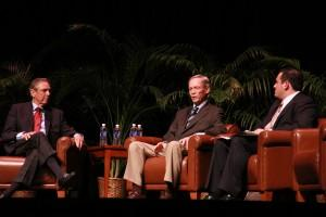 Governor's Bob Martinez and Buddy MacKay speak with event Moderator Ben Diamond at the University of Florida's Phillips Center