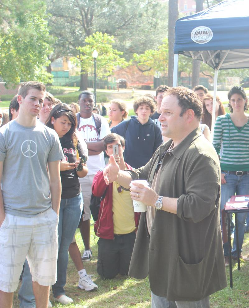 Actor Jason Alexander stumping for President Barack Obama at Florida State University. He's one of many celebrities who's hit the campaign trail for both presidential candidates.