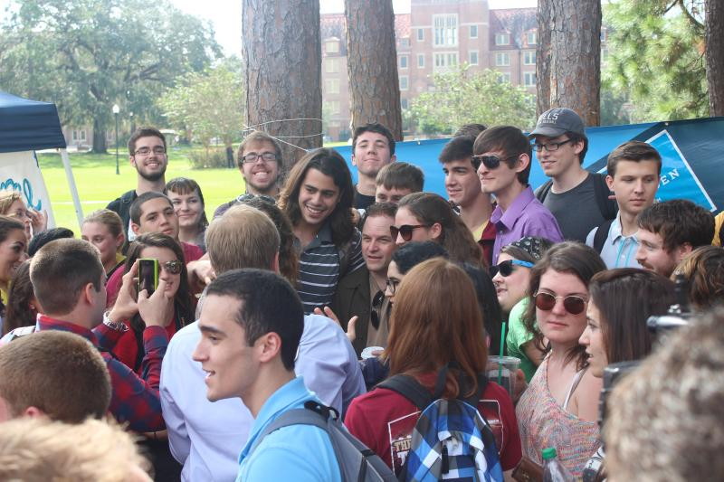 Seinfeld Actor Jason Alexander (middle) taking a picture with college students at the Florida State University campus, after he finished talking to them