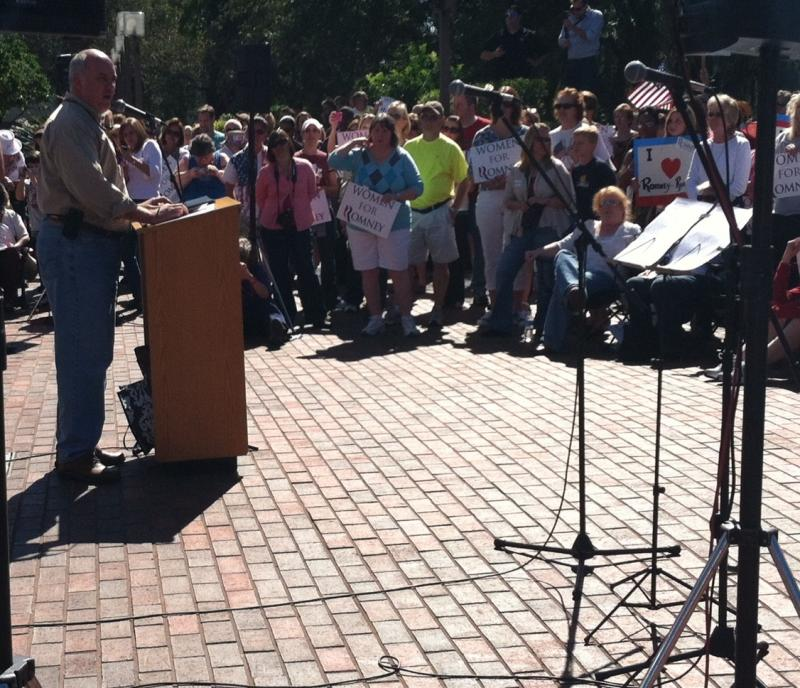 Rep. Steve Southerland (R-Dist. 2) addresses the Women for Romney rally crowd