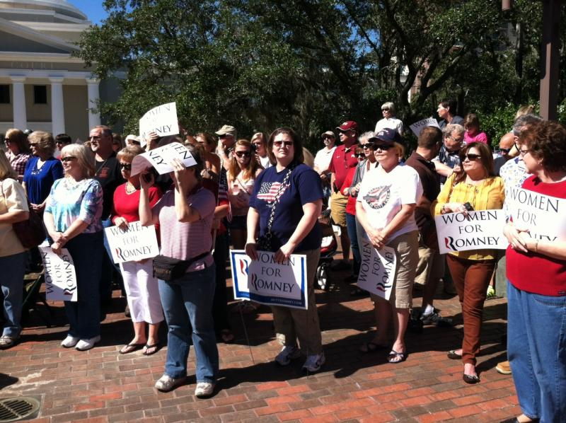 Mitt Romney supporters from Florida Women for Romney attend the rally at the Florida Capitol.