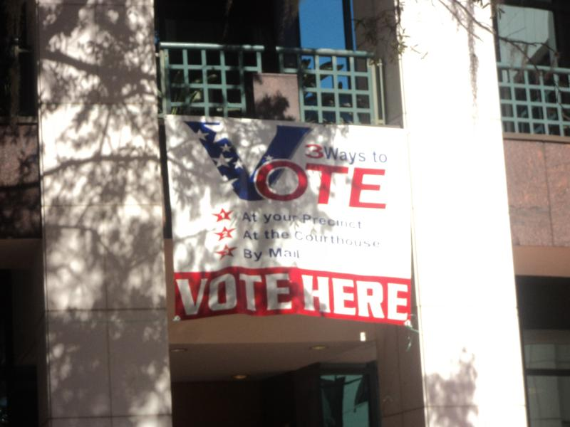 The front of Leon County Courthouse where early voters enter