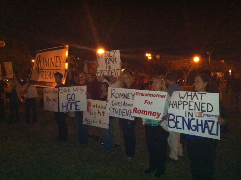 Romney supporters protest at the Obama rally