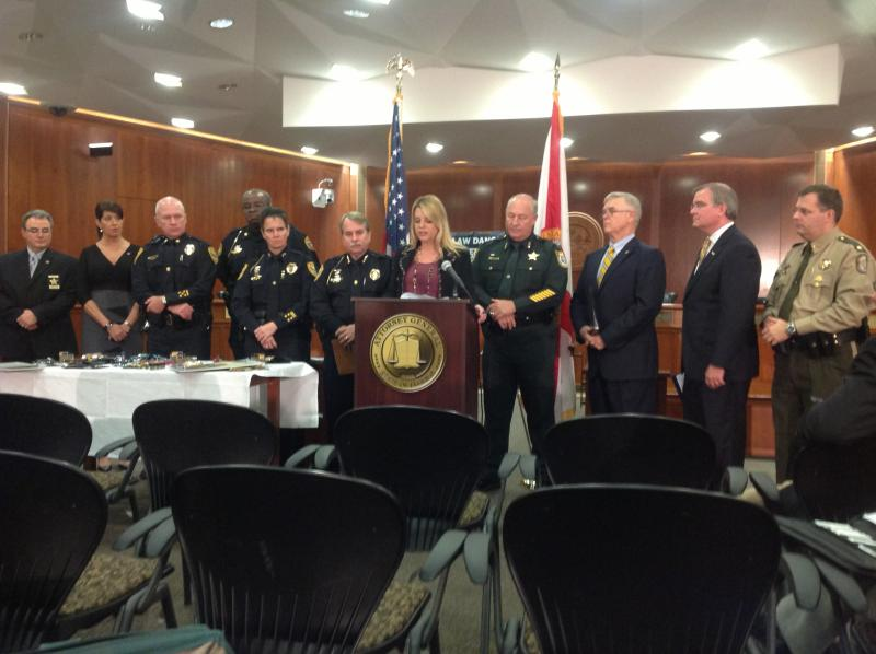 Attorney General Pam Bondi joined by law enforcement officials in announcing she filed an emergency rule to crack down on new synthetic drugs.