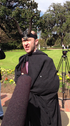 The Satanic Temple's High Priest speaks with reporters
