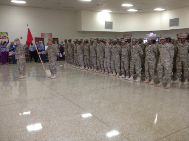 Florida Army National Guardsmen stand in formation before being dismissed from their nine month deployment.