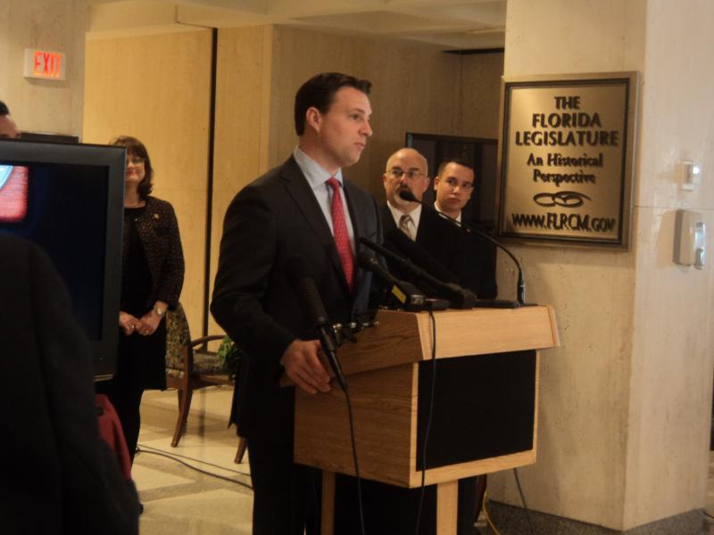 House Speaker Will Weatherford unveiling the new 'FL House' mobile app at a press conference Thursday.