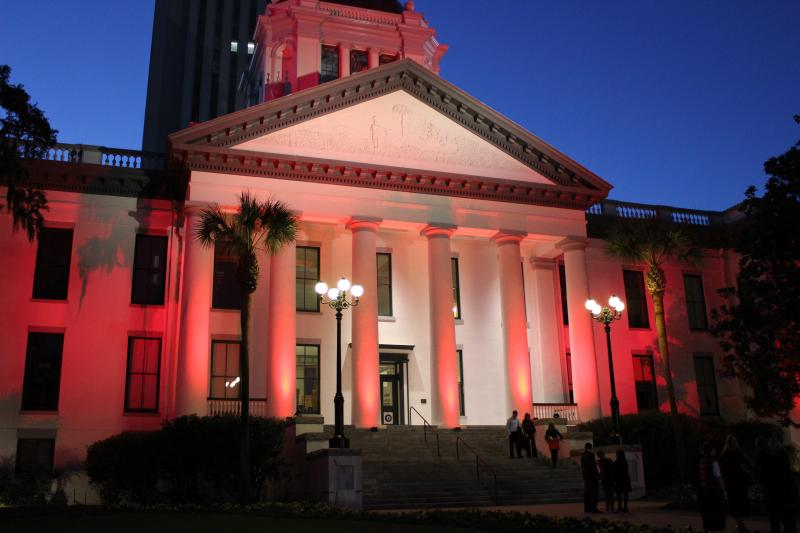 The Capitol building was lit red in observence of National Heart Month