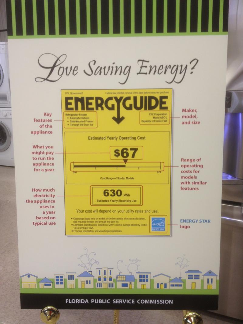 "A sample appliance tag with the blue ""Energy Star"" logo on the bottom right, signifying that this appliance not only meets but exceed energy efficiency standards."