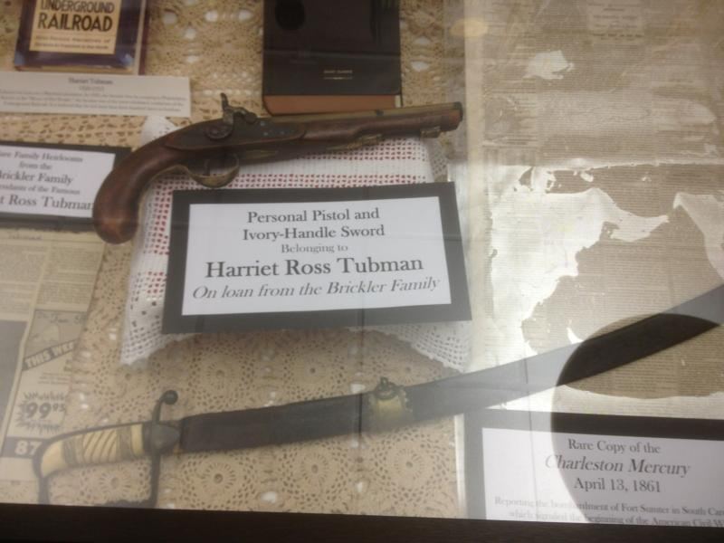 Underground Railroad Conductor Harriett Tubman's personal pistol and ivory handled sword, on loan from the Brickler family, of Tallahassee, at the Florida A&M University Black Archive