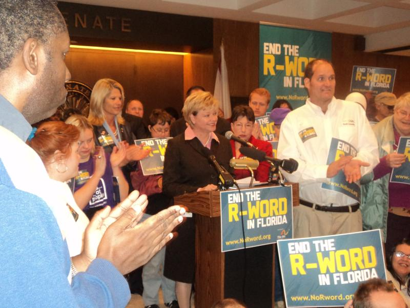 "Representative Janet Adkins (R-Fernandina Beach) is joined by advocates from Arc of Florida and other lawmakers at a press conference to promote ""End the R-Word"" campaign and bill."