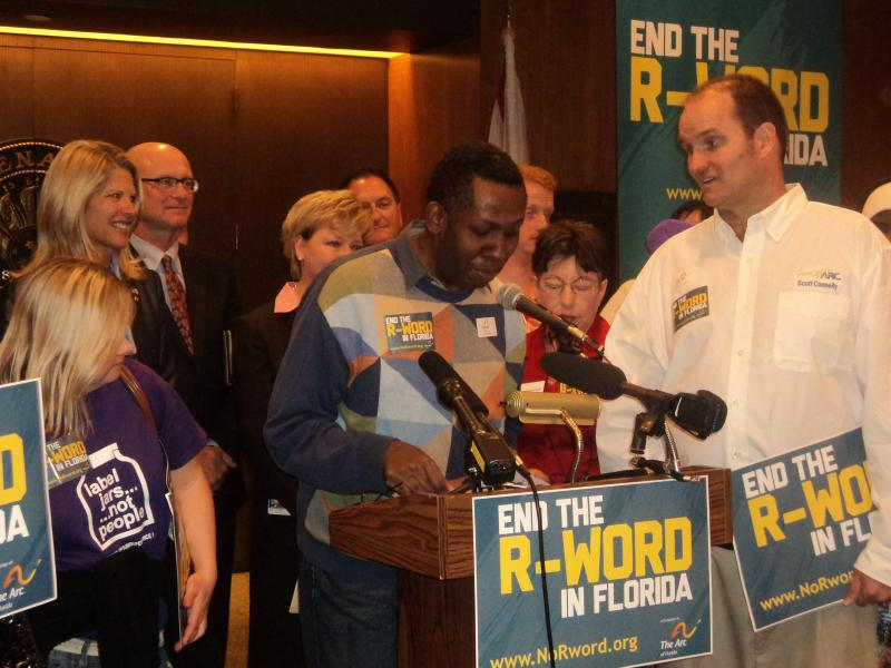 "Derrick Sneads, who has an intellectual disability, speaking at the press conference, urging support for putting an end to the ""R-Word."""