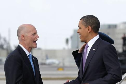 President Barack Obama and Governor Rick Scott in 2011.