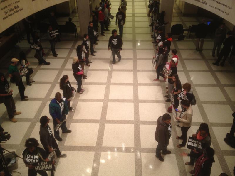 """Dreamer"" activists protesting outside the House Chamber as Gov. Rick Scott gives his State of the State Address"