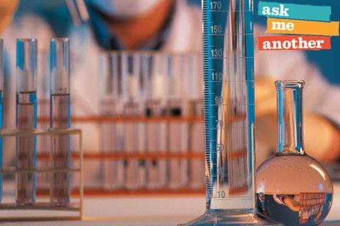 Beakers and test tubes with Ask me Another Logo