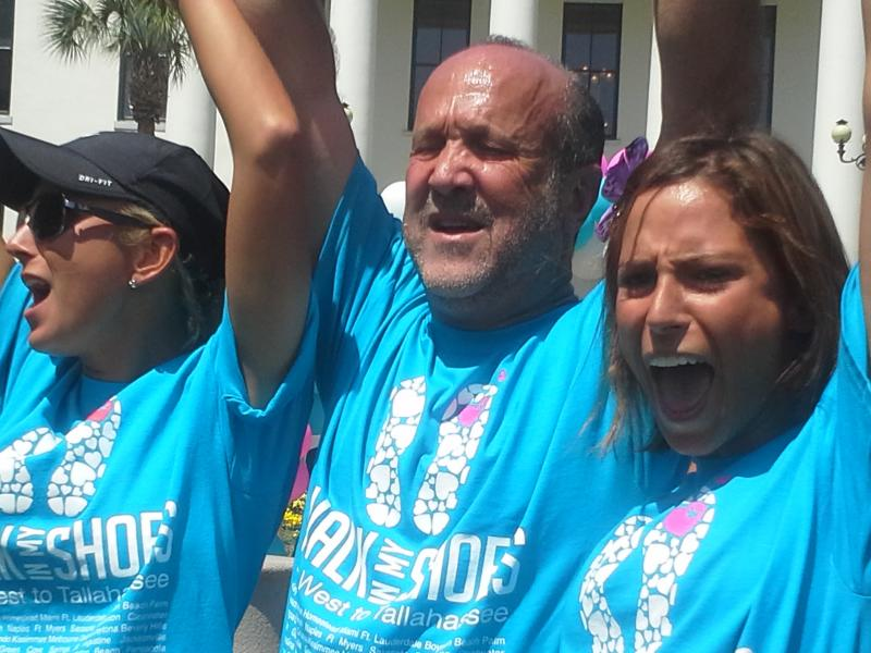"Sexual abuse survivor Lauren Book joined by her father, lobbyist Ron Book, and Lauren's sister following the end of the 1,500 mile ""Walk In My Shoes"" Journey"