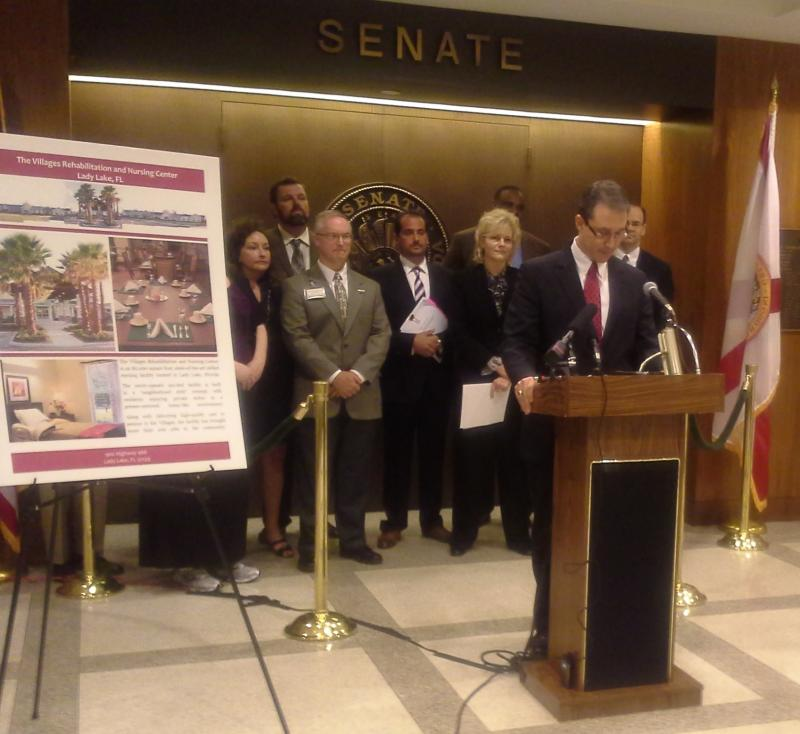Senator Rene Garcia (R-Hialeah) joined by others in a press conference Monday to oppose SB 1482.
