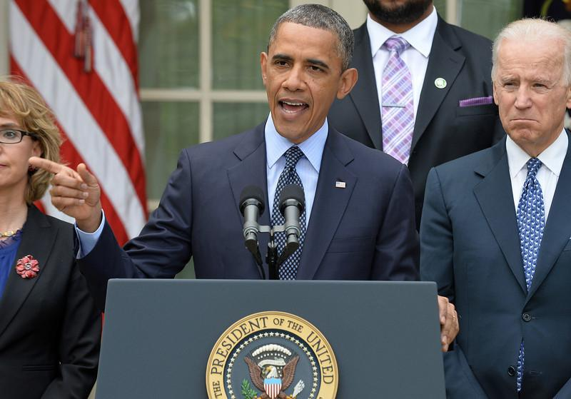 "President Obama speaks on gun control in the Rose Garden of the White House. Obama Wednesday slammed what he called a ""minority"" in the US Senate for blocking legislation that would have expanded background checks on those seeking to buy guns."