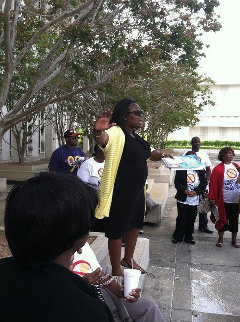 Members of the SEIU of Florida discuss their strategy ahead of a Senate Committee on health insurance expansion