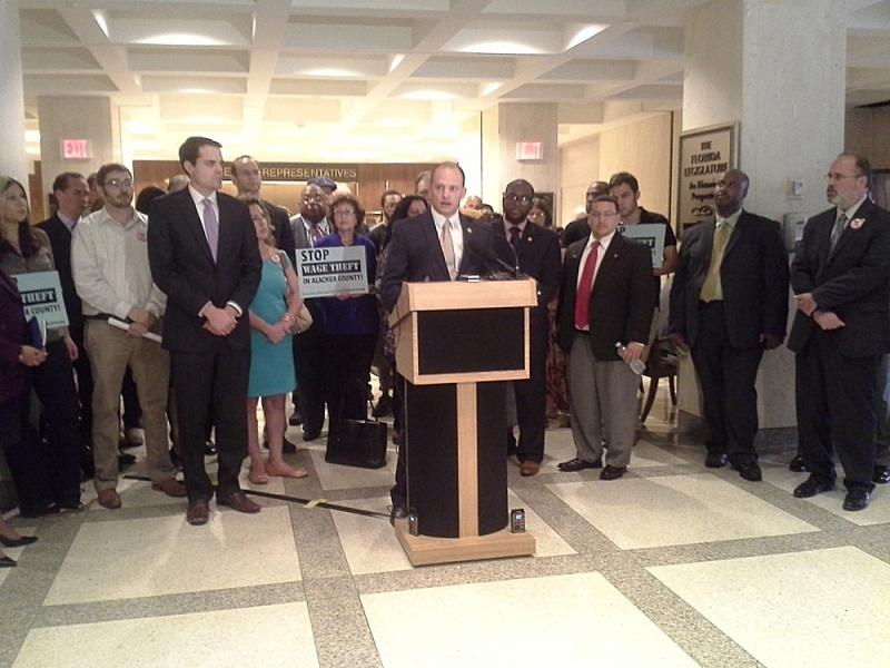 José Javier Rodríguez (D-Miami) joined by other Democratic lawmakers, AFL-CIO's Rich Templin, and others at a press conference Tuesday in opposition to the wage theft bill (HB 1125 & SB 1216) .