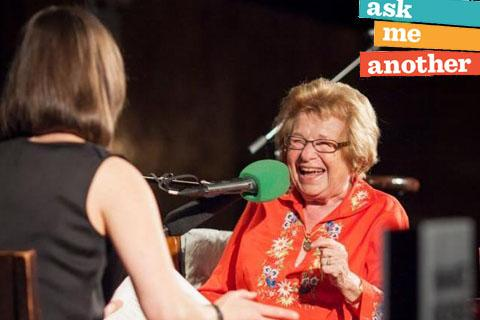 Dr. Ruth with Ask Me Another logo