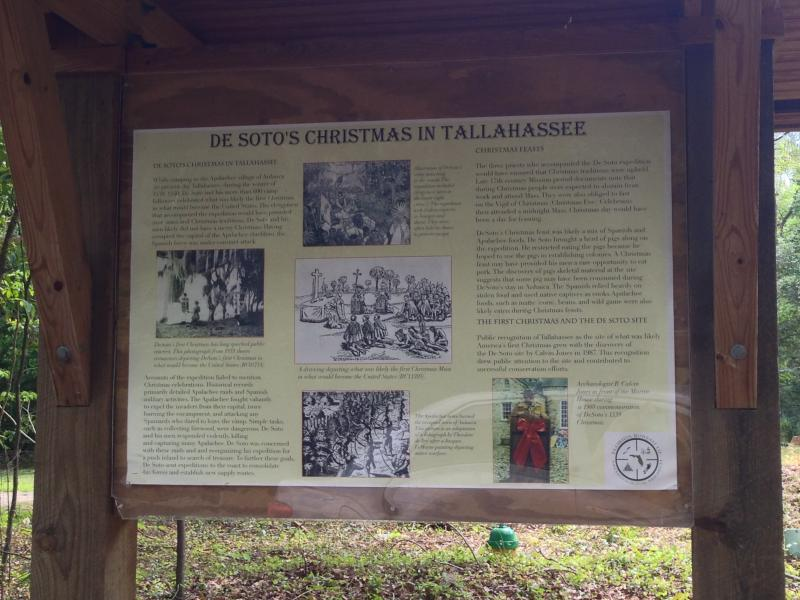 A board commemorates Christmas at the de Soto site in Tallahassee