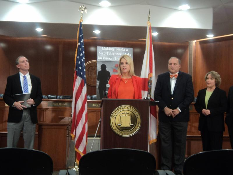Florida Attorney General Pam Bondi held a press conference Tuesday to talk about an effort she created to help Florida businesses get involved in the human trafficking fight.