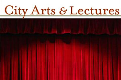city arts and lectures logo and a stage curtain