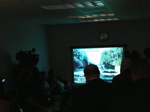 A dashboard video of Swindle's November traffic stops plays during the hearing.