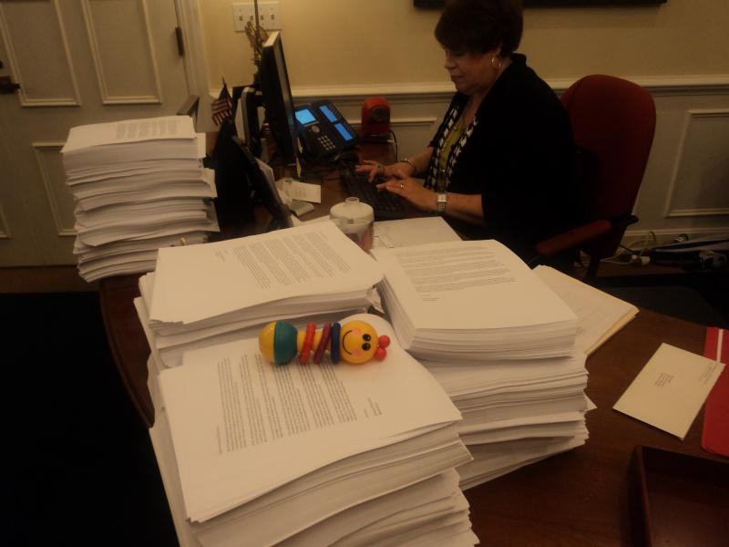 All the thousands of petitions on the Secretary's desk, complete with a baby rattle.