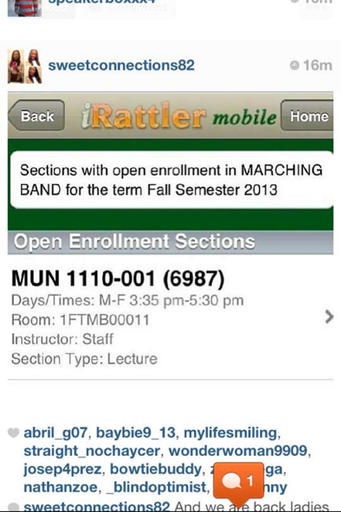 The listing from FAMU's iRattler Course Registration website